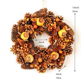 grinaldas de ação de graças Desconto Feito à Mão Wreath Porta Nature Pine Cones Grinalda do outono para o casamento da colheita Thanksgiving Day Decorações Home Rustic queda Coroas