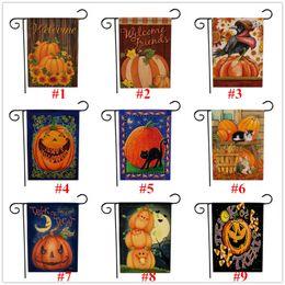 bandiere decorativi da giardino Sconti Cartoon Halloween Bandiera decorativi trucco Treat Pumpkin Skull Stampa 47 * 32 centimetri Giardino Bandiera Yard Hanging Bandiera portatile Banner 27color C9305