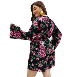 2020 mas mamelucos tamaño 4xl WHZHM 4XL Lace Up Flor Body Mujeres Mamelucos Mujeres Playsuit Manga Completa Floral Impreso Talla Extra 3XL 4XL Body Suelto rebajas mas mamelucos tamaño 4xl