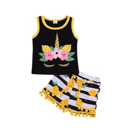 dot bebê roupa Desconto Bebé Unicórnio roupas 2pcs Love Letter Vest Coração top + Dot calças curtas com Tassel Roupas Define Roupas crianças boutique