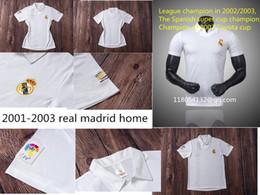 Campionato reale dei campioni di madrid online-Retro Real Madrid camicia Divisa manica corta Zidane Figo Guti Rual Ronaldo Carlos Retro Il campionato campione 2001 2002 03 RHM Jersey