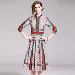 damen elegante midi kleider Rabatt 2019 Mode elegante Kleider von Frauen, Beauty Printing Midi-Röcke, Langarm-Polo-Ausschnitt-Kleid, vier Farben Wählen Sie Freizeitkleidung