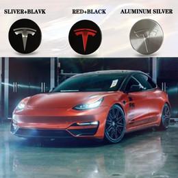 2019 cubo da roda jaguar Para Tesla MODELO S X 3 Aço Inoxidável Roda Centro Tampa Hub Logo Badge 4 Pcs