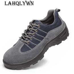 sapatos de segurança casuais Desconto Homens Moda respirável Aço Trabalho Toe Safety Shoes Lace Up Botas Casual Mens Trabalho Seguro Puncture Shoe Proof H354