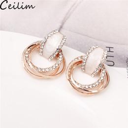 einfache elegante ohrringe Rabatt Kristall Creolen Mit Strass 3 Kreis Ohrring Einfache Große Kreis Gold Farbe Creolen Für Frauen Elegante Süße Korea Design
