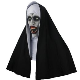 Die Nonne Horror Maske Cosplay Valak Scary Latex Masken Mit Kopftuch Integralhelm Halloween Party Requisiten 2019 Drop Shipping von Fabrikanten