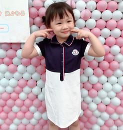 2019 cappelli di battesimo delle ragazze Ragazze Designer Abiti 2019 Summer New Fashion Colorblock Polo Shirt Active Letters Stampa Dress Luxury Gonna Knit con risvolto 2 Style Kids Clothes