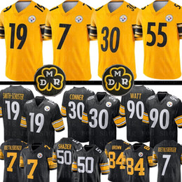 Watt shorts on-line-19 Juju Smith-Schuster Pittsburgh Steelers amarelo Jersey 7 Ben Roethlisberger 30 James Conner 55 Devin Bush 90 T.J. Watt Jerseys