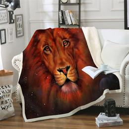 Beddingoutlet orange leão impresso veludo lance de pelúcia cobertor colcha para crianças meninas sofá cobertor sherpa sofá colcha diy design de