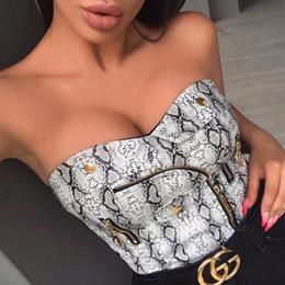 Vestido online-Camiseta para mujer 2019 Primavera y verano Nuevo Vestido Navel con estampado de serpiente sexy Vestidos ajustados en la cintura Estilo de club nocturno Pu Cremallera Ropa Crop Tops