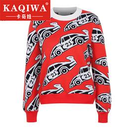 Maglioni rosse a maglia lunga rossa online-Autunno 2018 Fashion blogger womens cottoon auto Jacquard manica lunga vintage maglione lavorato a maglia rosso 2018 maglione autunno