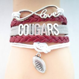 teams beads Promo Codes - Jewelry Infinity Love Cougars Football Team Bracelet Maroon White Wristband Friendship Gifts B09191
