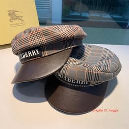 Cappelli rosso newsboy per le donne online-Designer Newsboy cappelli piatti cappelli Cappello per donna Ottagonale Berretto strillone Linea di cotone Berretto berretto femminile Plaid Grigio Nero Rosso Pittore Cappellino Inverno