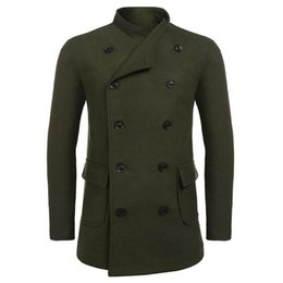 double breasted jacket green men Coupons - Men Stylish Warm Soft Double Breasted Flap Pocket, Wool Blend Coat Jacket Casual with Solid Belt Long