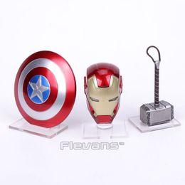 jouets casque Promotion Avengers 2 Iron Man MK43 Lumière Casque Captain America Shield Thor Marteau Avec Acrylique Base Mini Action Figure Jouets