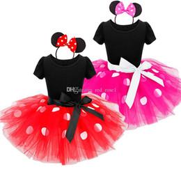 Vestiti della principessa polka dot online-2018 New Kids Ballet Show Dress Principessa Party Costume infantile Abbigliamento Polka Dot Baby Clothes Compleanno Ragazze tutu Dress con fascia