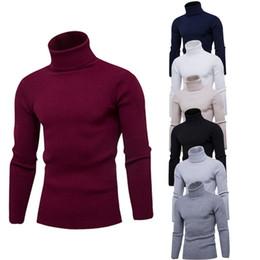 marca de ropa basica Rebajas Puimentiua Hombres Cálido Suéter de Cuello Alto Marca 2019 Otoño Invierno Básico de Punto Suéteres Casual Slim Fit Pullover Ropa Tops