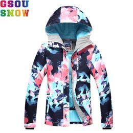 Abrigo de camuflaje impermeable online-GSOU SNOW Ski Jacket Women Skiing Suit Winter Waterproof Cheap Ski Suit Outdoor Camping Female Coat 2017 Snowboard Clothing Camo