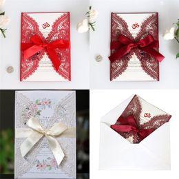 2019 laserperlen Aushöhlen der Hochzeitseinladungsfestival-Glückwunschkarte Spitzenlaser-Karten Mattrote Perle Hellrote Weiße Farbe 2 3dd J1 günstig laserperlen