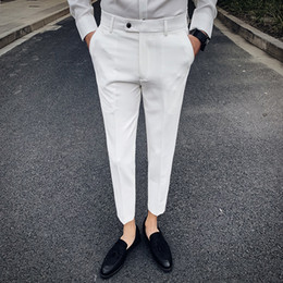 new men formal pant style Coupons - 2019 Spring New British Style Solid Suit Pant Men Pantalon Hombre Hot Sale Streetwear Men Trousers Business Formal Suit Pant