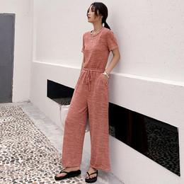 Frauen Casual Kordelzug Zweiteiler T-shirts und Hosen One Size Elastischer Trainingsanzug Dame Sportbekleidung Schlafanzüge von Fabrikanten