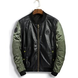 3235af153fa51 PU Bomber Jacket Men Ma-1 Flight Jacket Pilot Air Force Male Leather Jackets  Army motorcycle Coats 3XL Biker Jeans