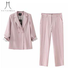 signore con striping blazers Sconti Heydress 2019 Donna Estate autunno Striped Pink Blazer Thin Jacket Turn Down Collar Blazer femminile Casual ufficio Ladies Suit