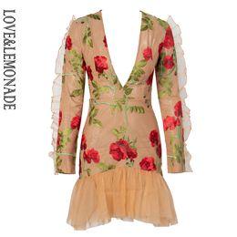 V vestito lungo del manicotto della maglia del collo di v online-LoveLemonade Deep V-Neck Ruffle Trim Mesh Mesh Materiale da ricamo Manica lunga Going Out Dress LM81682-1
