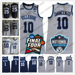pretty nice 290f1 7ad08 2018 Final Four NCAA Villanova Wildcats  10 Donte DiVincenzo 1 Jalen  Brunson 25 Mikal Bridges White Navy Blue Champions RVM Patch Jerseys