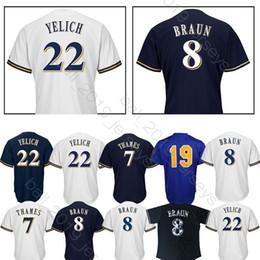 Maglia della milwaukee Brewers 22 Maglia della Christian Yelich 19 Robin Yount 8 Ryan Braun aggiunge la maglia della patch del 150 ° anniversario da maglia gialla nera gialla fornitori
