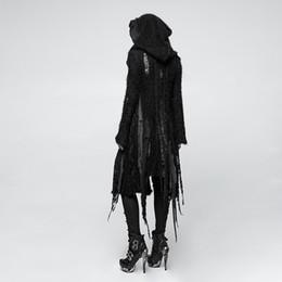 ea436de291 2019 punk rave PUNK RAVE Gothic Vampir Performance Damen Schwarz Langer  Trenchcoat Asymmetrischer Lochstrick Unregelmäßiger Halloween