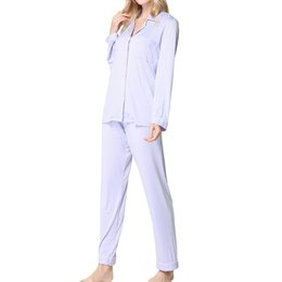 Ropa interior de solapa online-ISHOWTIENDA Conjunto de pijama de manga larga para mujer Pijamas Botón Conjunto de ropa interior de solapa Pijama femme coton camisola de dormir femini