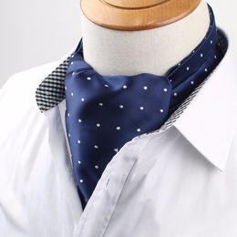 Cravatte di seta di lusso online-Cravatta Vintage Cravat Ascot Scrunch Cravatta vintage uomo alta qualità Self British Dot Gentleman Cravatta in seta di poliestere