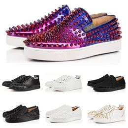 red bottom glitter Promo Codes - 2019 Designer fashion luxury Red Bottoms Studded Spikes Flats shoes For Men Women black white glitter Party Lovers casual Sneakers