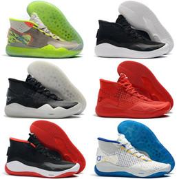 кд домашняя обувь Скидка 2019 Новый Кевин Дюрант 12 XII High KD 35 Warriors Home Белый Синий Желтый Мужская Баскетбольная Обувь Мужская Спортивная Обувь KD12 Кроссовки Size7-12
