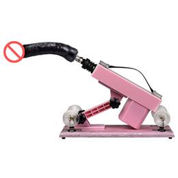 pistola consolador rosa Rebajas Pink Sex Machine Gun Masaje de empuje automático Sex Gun con consolador negro Máquinas de masturbación femeninas Muebles sexuales para mujeres E5-1-94
