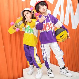 hip hop dance costumes clothes Promo Codes - Hip Hop Ballroom Costume for Kids Dance Clothes Girls Boys Casual Shirt Sweatshirt Tops Jogger Pants Party Performance Costumes