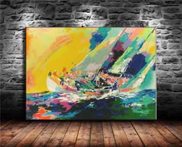 Pintura a óleo vela on-line-Navegação havaiana, Pintura em tela Sala de estar Decoração de casa Modern Mural Art Oil Painting