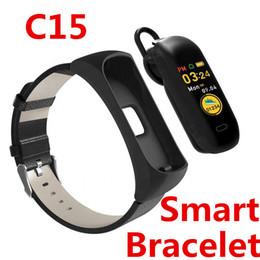 alarmes móveis Desconto C15 Inteligente pulseira de conversa Bluetooth alarme de Freqüência Cardíaca, mão levantada pulso, tela brilhante, suporte a voz do telefone móvel Wechat, QQ, Facebook, Twitter