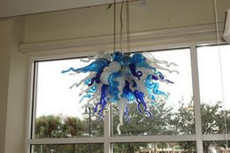 Klarer zeitgenössischer kronleuchter online-Moderne Clear Blue Weiß geblasenem Glas Kronleuchter Licht Wohnzimmer Dekorativ Modern Crsytal Hänge LED Pendelleuchten