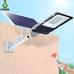 Lámpara de poste de luz al aire libre jardín online-Iluminación de la lámpara LED al aire libre Luz solar de 200W 100W 70W 40W 20W de jardín de aluminio con mando y Polo