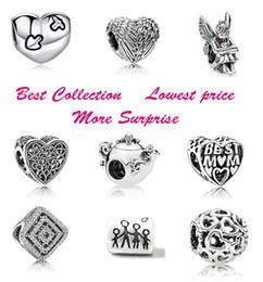 Mejor estilo de cuentas online-Mejor precio !! 50pcs Heart Spirits Best Mom Family Teapot Mouse Silver Charm Beads Se adapta al estilo europeo de Pandora Pulseras de joyería Collar