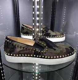 zapatos de camuflaje para mujer Rebajas Diseñador de lujo de los hombres casual Pik Pik Spikes Barco Camo las zapatillas de deporte de los holgazanes rojos de fondo ocasional cómodo Ocio Pisos, boda del partido de las mujeres
