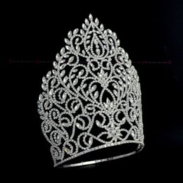 capelli alti Sconti Tall Crowns grande corona di cristallo regolabile fascia per spettacolo o gioielli da sposa da sposa Regina Diademi fatti a mano