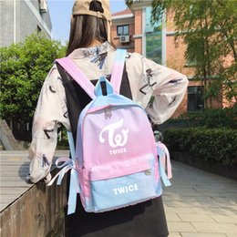 mochila de estrellas coreanas Rebajas Nuevo kpop Mochila de gradiente azul de Corea Star Powder azul mochila para niñas adolescentes kpop Sana moda mochila de viaje