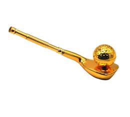 steli di sigarette Sconti Il più nuovo tubo di metallo del metallo di stile di golf che si svuota con il supporto di sigaretta del filtro a sfera Tubi di tabacco del tabacco Gli strumenti diritti del gambo accessori