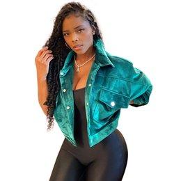 imagens naturais do peito Desconto 2020 Moda Corduroy tecido Meninas Casacos Primavera Vire-down bolsos de peito Individual Long Neck mangas curtas Coats reais Images