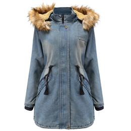2019 Winter New Warm Frau Coats feste beiläufige Weit Taille Denim Women Jacken Thick Voll lose koreanische Art und Weise Femme Coats # J30