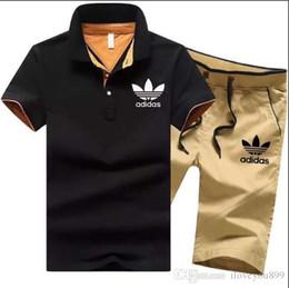 Pantalones cortos para hombre online-Chándal hombre conjuntos pantalones verano nuevos hombres recortados camiseta Shorts trajes casuales ropa deportiva para hombre sudadera masculina marca AD-796