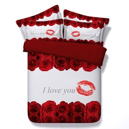 Branco 3D rosa Lip impressão Conjuntos de Cama para capa de edredão queen size com fronha cama king size Bed bed dia dos Namorados presente de